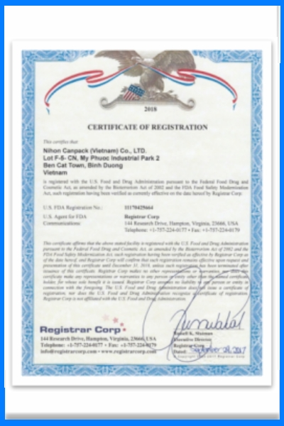 Certificate of Registration with U.S. Food and Drug Administration
