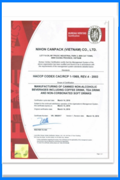 Certificate  HACCP  CODEX CAC/RCP 1-1969, REV.4 – 2003 Manufacturing of canned Non- alcoholic beverages  including coffee drink, Tea drink and  Non-corbonated of soft drinks