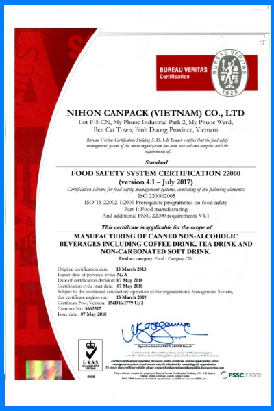 Food Safety System Certification 22000 (version 4.1)